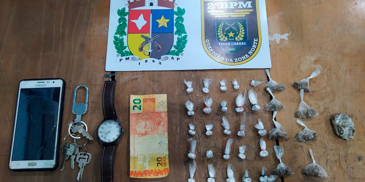 Suspeito de tráfico de drogas é preso pela Polícia Militar